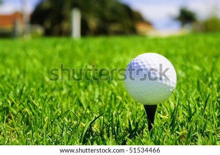 golf ball on the bright green grass - as a symbol of success - stock photo