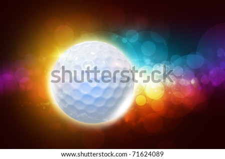 Golf ball on the color glow background - stock photo