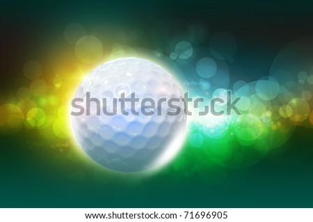Golf ball on the color green glow background - stock photo