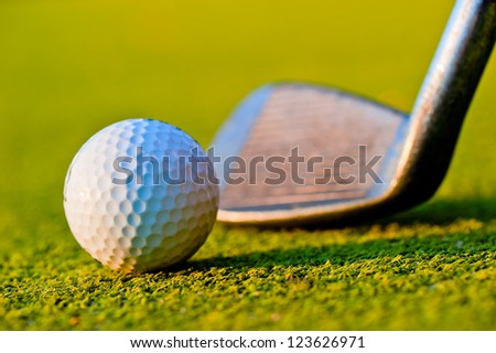 Golf ball on the field. - stock photo