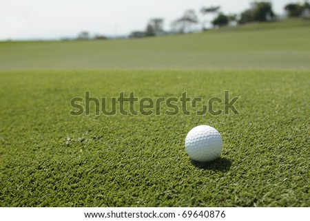 Golf ball on the green. Shallow DOF, focus on ball. - stock photo
