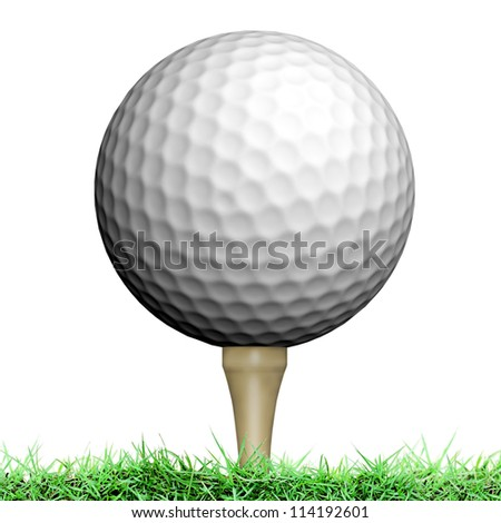 Golf ball on white background - stock photo