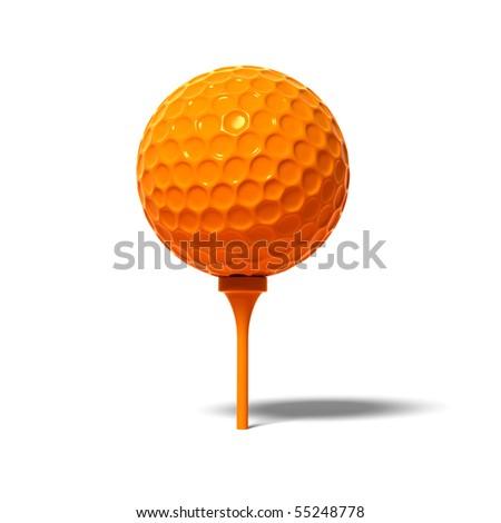 Golf ball on white background - stock photo
