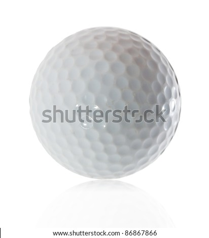 Golf ball  on white background with reflection