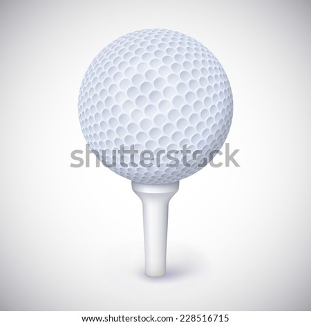 Golf ball on white tee realistic  illustration isolated - stock photo