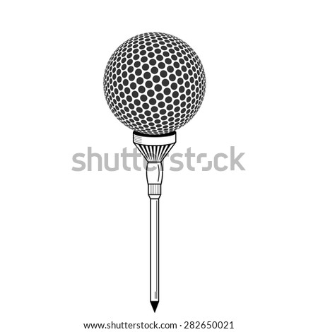 Golf ball on white tee realistic  illustration isolated.  golf ball isolated on white. Golf tee of Engraving style with ball - stock photo