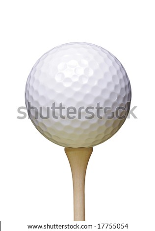 Golf Ball On Wooden Tee, White Background - stock photo