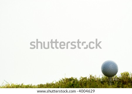 golf ball over tee in white bachground - stock photo
