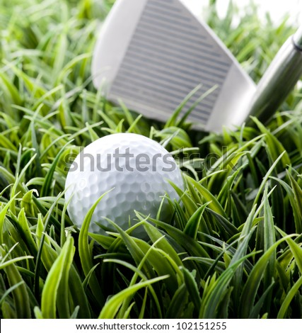 golf ball putting on green - stock photo