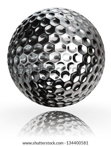 golf ball silver metal on white background. clipping path included - stock photo
