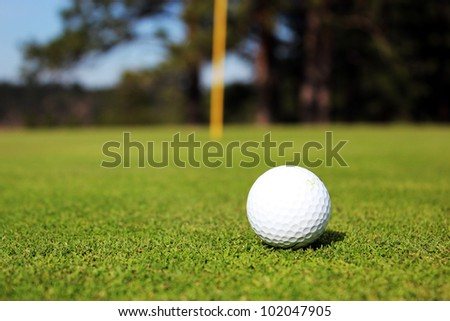 Golf ball sits on green - stock photo