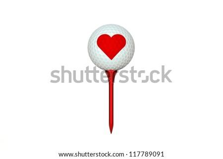 Golf ball valentine - stock photo