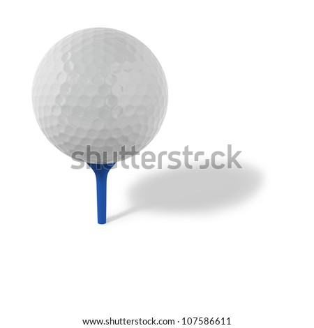 Golf ball with blue tee on white background