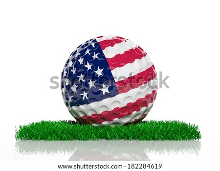 Golf ball with flag of USA on green grass  - stock photo