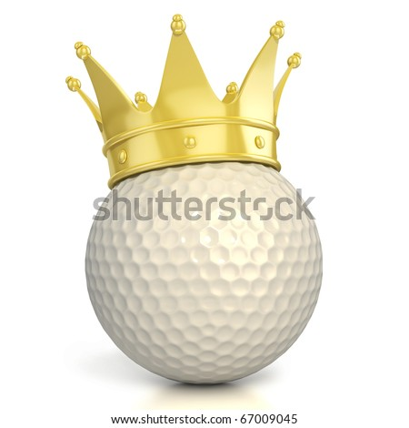 golf ball with golden crown isolated over white background - stock photo