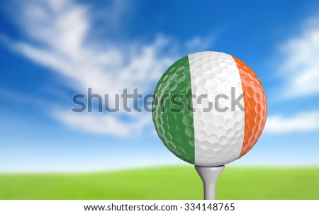 Golf ball with Ireland flag colors sitting on a tee - stock photo