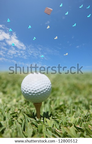 golf ball with kites in the sky