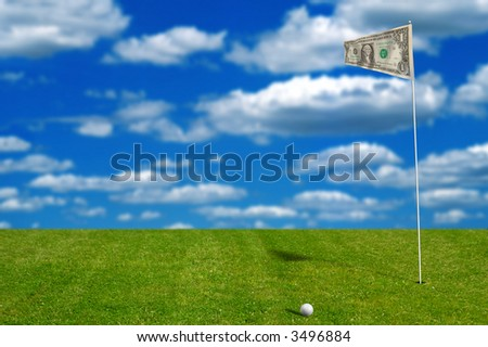 Golf ball with money flag with sky in the background
