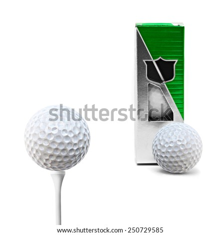golf ball with packaging for balls isolated - stock photo