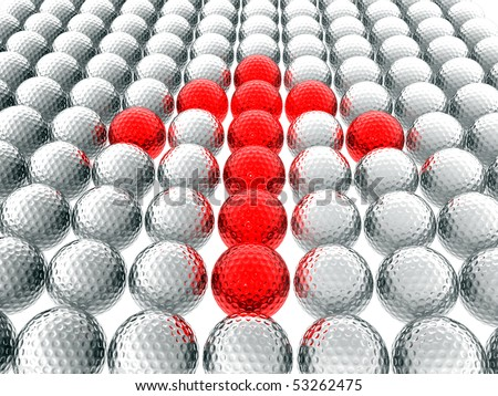 golf ball with red arrow - stock photo