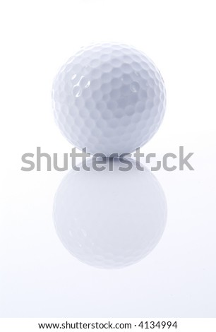 Golf ball with reflection on white and gray background