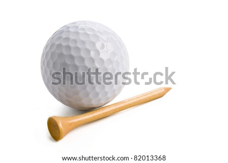 golf ball with tee isolated on white background with clipping path. - stock photo