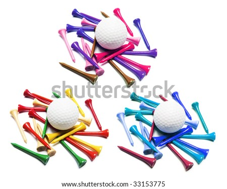 Golf Balls and Golf Tees on White Background - stock photo