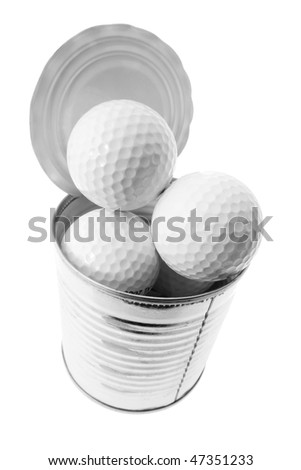 Golf Balls in Tin Can on White Background