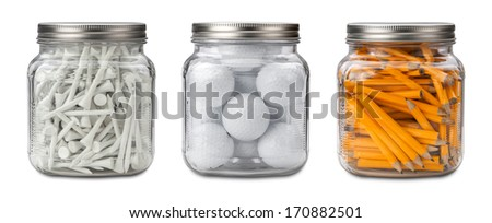 Golf Balls, Tees, and Pencils in a glass jar isolated on white with a clipping path. - stock photo