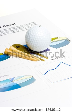 Golf business concept - golf ball and tees on a graphs