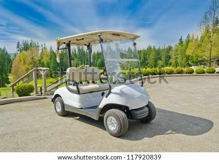 Golf cart at the golf course.