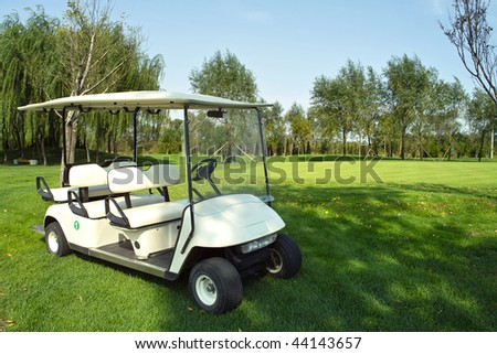 Golf cart on golf course