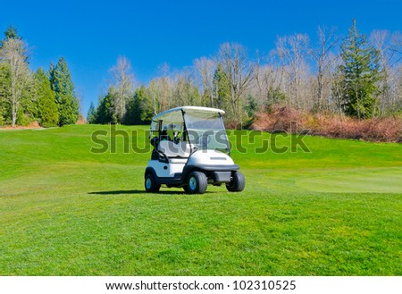 Golf cart on the course with colorful background and dark blue sky. - stock photo