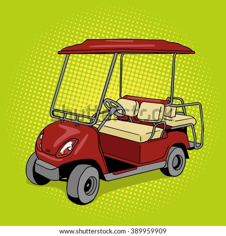 Golf cart pop art style raster illustration. Hand drawn doodle.  Comic book style imitation. Vintage retro style. Conceptual illustration - stock photo