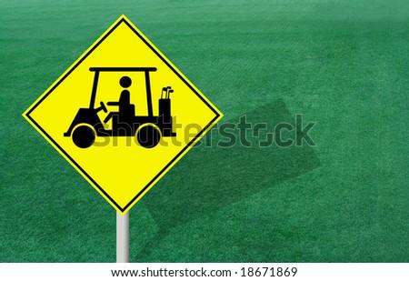 Golf Cart Sign - stock photo