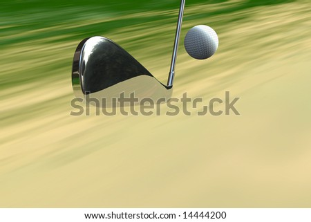 Golf club and ball concept shot