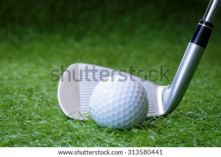 Golf club and ball in the green grass. - stock photo