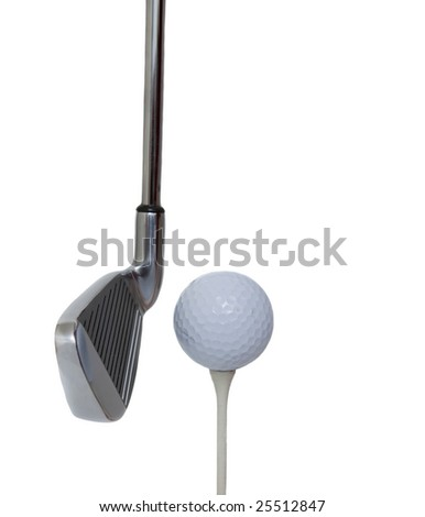 golf club and ball isolated against white background