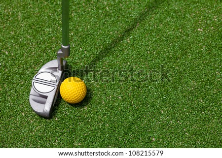 golf club and ball top view - stock photo