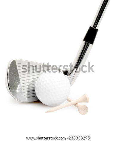 Golf Club, Ball and Golf Tees Isolated on a White Background
