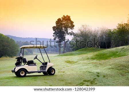 Golf club car : morning feel - stock photo