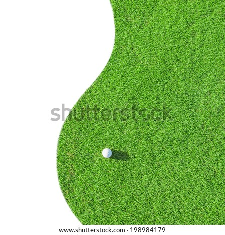 Golf club. Green golf field and ball in grass Isolated on white background - stock photo