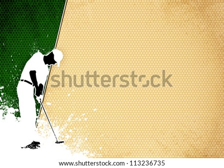 Golf club poster: Man golf swing poster background with space
