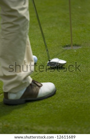 Golf club view of putting green - sport - stock photo