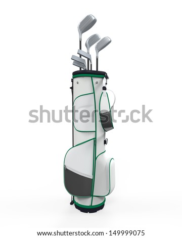 Golf Clubs and Bag Isolated - stock photo
