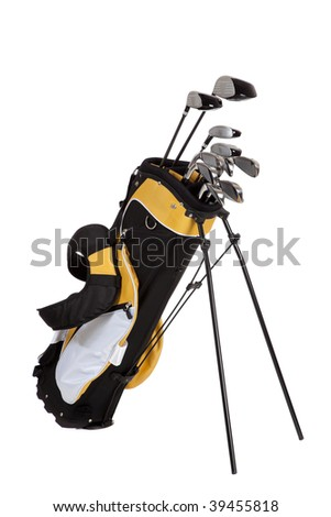 golf clubs and bag on a white background - stock photo