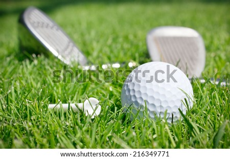 Golf clubs and ball in grass - stock photo