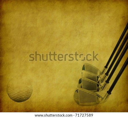 Golf Clubs and Balls on Grunge Abstract Background - stock photo
