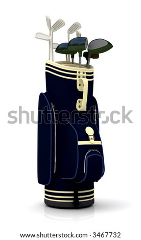 golf clubs in a bag - isolated over a white background - stock photo