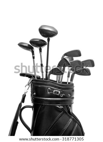 Golf clubs in a black leather bag / isolated on white background - stock photo